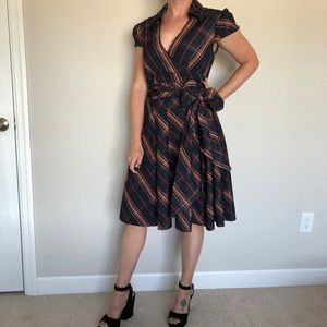 Moda international faux wrap plaid dress (8)